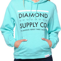 Diamond Supply Co.. Women's Roots Mint Blue Pullover Hoodie