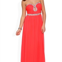 Long Prom Dress with Strapless Stone Neckline and Keyhole Cutout