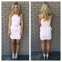 Pink Zoey Peplum Dress With Belt