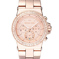 Michael Kors Baguette-Bezel Watch, Rose Gold