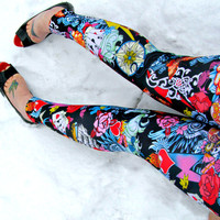 Tattoo Flash Leggings pants sugar skull Tiger Swallow lycra