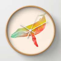 Watercolor Whale Wall Clock by Jacqueline Maldonado