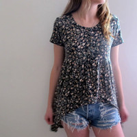 Floral Print Tunic High Low Hi Lo Womens Black Grunge Style Flowers Boho Bohemian Dress Hippie