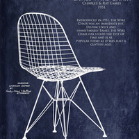 Eames Wire Chair Blueprint style art print - multiple sizes available