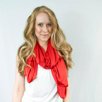 Red Orange Scarf Infinity Spring Lightweight Wide Cayenne