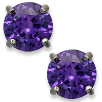 B. Brilliant Purple Cubic Zirconia Round Stud Earrings in Sterling Silver (1 ct. t.w.)