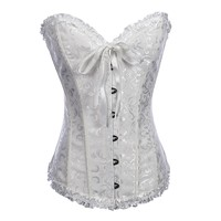 Remedios Boutique Strapless Jacquard Boned White Corset with Thong