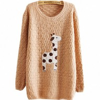 Fancy Dress Store Women's Giraffe Print Knitwear Pullover Sweater