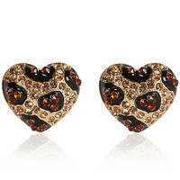 Gold tone rhinestone leopard heart earrings - earrings - jewelry - women