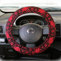 Steering-wheel-cover-for-wheel-car-accessories-Red-Black-Lace-print