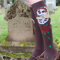 Socks by Sock Dreams » .Seasonal Socks » Autumn » Día de los Muertos Knee High