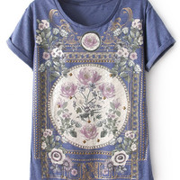 ROMWE Royal Floral Print Blue T-shirt