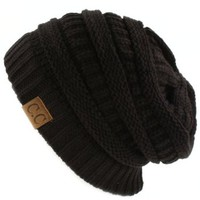 Unisex Winter Chunky Soft Stretch Cable Knit Slouch Beanie Skully Ski Hat Black