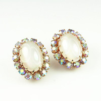 Vintage Earrings Austria Aurora Borealis Rhinestone Faux Moonstone 1950s Jewelry