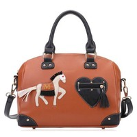 Horse Love Heart Purse Tote Cross Body Messenger Bag Handbag
