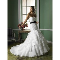Gorgeous Strapless Neckline Flared Chapel Length Train Wedding Dress