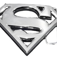 Officially Licensed Dc Comic Superman S Logo Shield Silver Finishing Belt Buckle