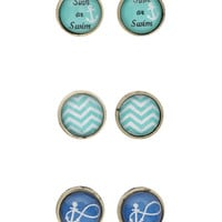 LOVEsick Nautical Stud Earrings 3 Pair