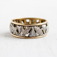 Vintage Sterling Silver & Gold Filled Eternity Band - Size 8 Etched Leaf and Heart Vargas Band Stacking Jewelry