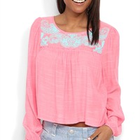 Long Sleeve Gauze Mid Crop Top with Paisley Print Neckline