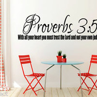 Proverbs 3:5 Bible Quote Christian Wall Sticker Inspirational Vinyl Decal Art