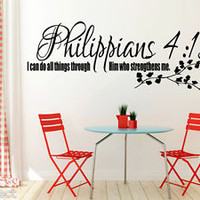 Philippians 4:13 Bible Quote Christian Wall Sticker Inspirational Vinyl Decal