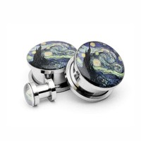 Starry Night Picture plugs by Mystic Metals Body Jewelry