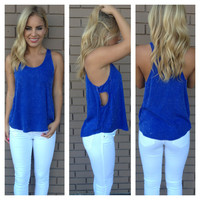 Electric Blue Open Side Pocket Top