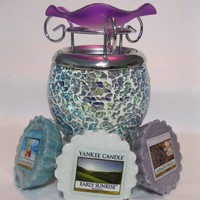 Gift Set Purple Mosaic Shattered Glass Design Decorative Glass Electric Plug-in Fragrance Lamp Aromatherapy Oil Warmer/burner Night Light with 3 Assorted Yankee Candle Wax Tarts #Mb03