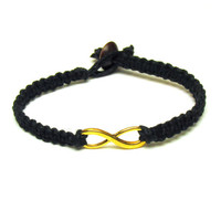 Black Infinity Bracelet, Gold Tone Infinity Charm, Macrame Hemp Jewelry, Made to Order