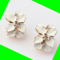 Orchid Rhinestone Fashion Earrings