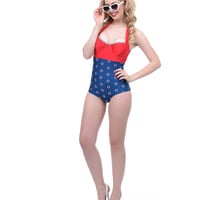 Red, White & Navy Life Ring Print Allison Halter Swimsuit
