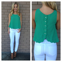 Green Scallop Button Back Blouse