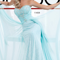 Strapless Dress with Lace Underlay