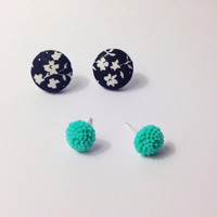 "Handmade ""Delilah"" Black and White Floral Print Dainty Fabric Earrings and Teal Chrysathemum Flower Earring Set"