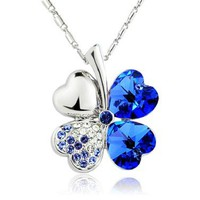 Beautiful 18K 4 Leaf Lucky Clover Royal Dark Blue Necklace