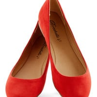Pop, Skip, and a Jump Flat in Poppy | Mod Retro Vintage Flats | ModCloth.com