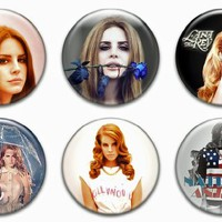 "Set of 6 New Lana Del Rey 1.25"" Pinback Button Badge Pin"