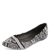 Tribal Print Pointy Toe Ballet Flats