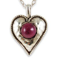 The Ruby Heart Necklace by heartisticsilver on Etsy