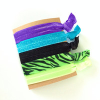 Neon Glitter Tiger Zebra Print Black Blue Green Purple Hair Ties Set of 5 Pack of Five Pony Ponies No Crease Hippie Pretty Girly Present