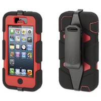 Griffin Survivor Case for iPhone 5 - 1 Pack - Retail Packaging - Black/Red