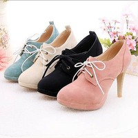 fashion  4 Color women's lace-up vogue high heel shoes #7