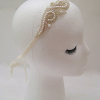 Bridal headpiece, wedding headband, pearl fascinator, Lady Mary headpiece, Downton wedding, 1920s wedding, silver bridal hair accessories