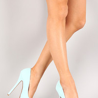 Qupid Mady-01 Nubuck Almond Toe Stiletto Platform Pump
