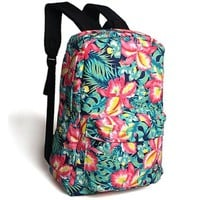 Vintage Floral Contrast Color Printing Canvas Backpack