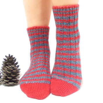 Valentines Day Sale, Handmade Socks, Knitted Socks, Handmade Socks, Red, Blue, Stripes, Knitting, Traditional, Long Slippers, House Shoes