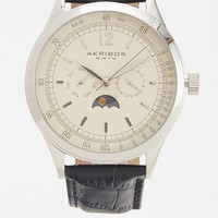 Quartz Genuine Leather Moon Phase Watch