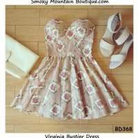 Virginia Floral Bustier Dress with Adjustable Straps - Size XS/S/M BD 368 - Smoky Mountain Boutique