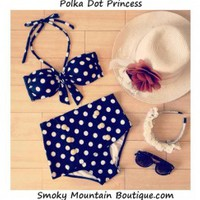 Polka Dot Princess Retro High Waist Swimsuit (Black and White Polka Dot Top & Bottom) S/M - HW328 - Smoky Mountain Boutique